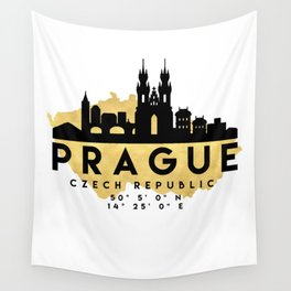 PRAGUE CZECH REPUBLIC SILHOUETTE SKYLINE MAP ART Wall Tapestry