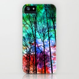 colorful abstract forest iPhone Case