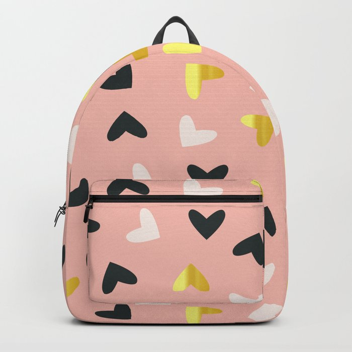 Heart pattern gold and rose Backpack