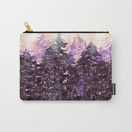 NORTHWEST VIBES Colorful Watercolor Painting Forest Trees Violet Green Modern Nature Art West Coast  Carry-All Pouch