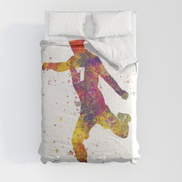 Soccer player isolated 03 in watercolor Comforters