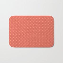 Pantone Living Coral Double Scallop Wave Pattern Bath Mat