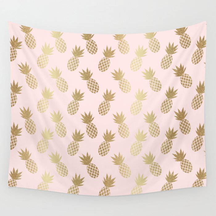 Pink & Gold Pineapples Wall Tapestry