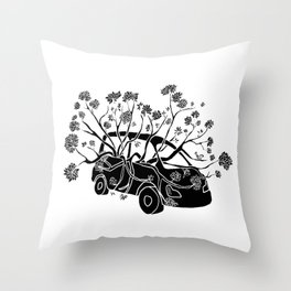 Break Free - Car With Tree Growing In It Illustration Throw Pillow
