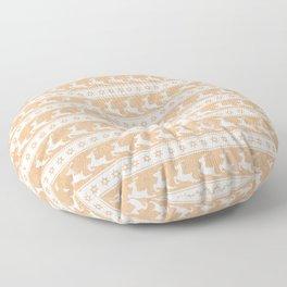 Gold And White Christmas Reindeer Print - Scandinavian / Nordic / Stars / Snowflakes / Xmas Pattern Floor Pillow