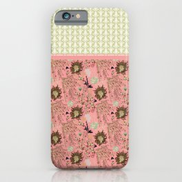 Anniversary Pink and Palm Vintage inspired print iPhone Case