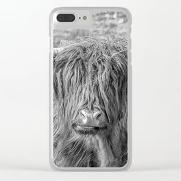 Black and white big Scottish Highland cow Clear iPhone Case