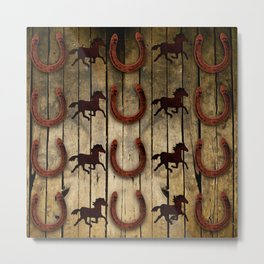 Horses and Horseshoes on Wood  backround Gifts Metal Print