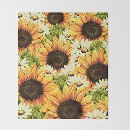 Summer Garden (Sunflower Sunshine) Throw Blanket