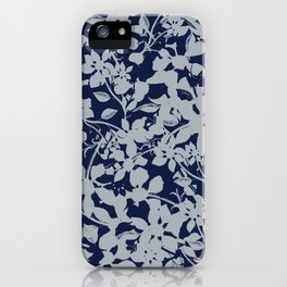 Blue and Grey Floral Pattern - Broken but Flourishing iPhone Case