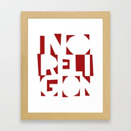 No Religion V-Red Framed Art Print