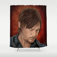 daryl dixon Shower Curtains featuring Daryl Dixon by Vanessa Seixas