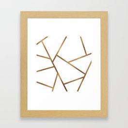 White and Gold Fragments - Geometric Design Framed Art Print