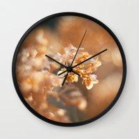 gold glitter Wall Clocks featuring Gold Glitter by Katie Kirkland