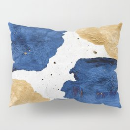 Gold and Navy Blue paint Pillow Sham