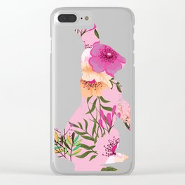 Floral Easter Bunny Flower Rabbit Gift Design Idea graphic Clear iPhone Case
