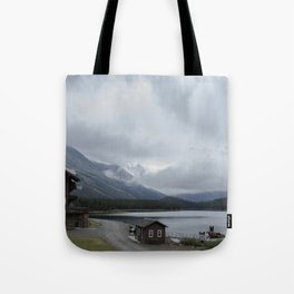 The View From Many Glacier Hotel Tote Bag