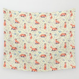 Fox and Bird Pattern Wall Tapestry