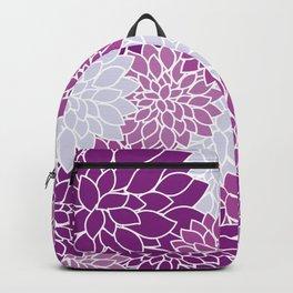 Dahlia Flowers, Petals, Blossoms - Blue Purple Backpack