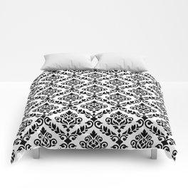 Prima Damask Pattern Black on White Comforters