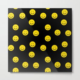 Smiley faces yellow happy simple rainbow colors pattern smile face kids nursery boys girls decor Metal Print