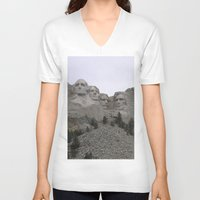 rushmore V-neck T-shirts featuring Mount Rushmore National Park by Joanne Salazar