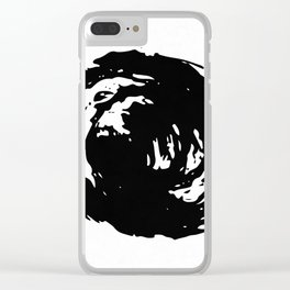 Whorl Black on White Clear iPhone Case