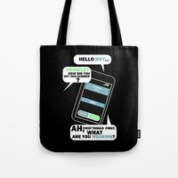 crowley Tote Bags featuring What are you Wearing? - Crowley Supernatural by KanaHyde