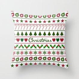 Love Christmas Motifs Pattern Green White Throw Pillow