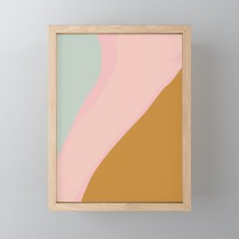 Abstract Painting in Muted Colors of Sage, Blush, and Gold Framed Mini Art Print