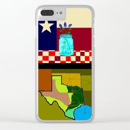A Texas Quilt, State Flag and Blue Bonnets Clear iPhone Case