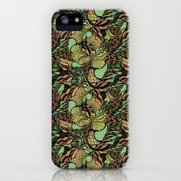 Abstract pattern with scale, waves and plants iPhone Case