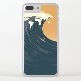 Surfing the World Clear iPhone Case