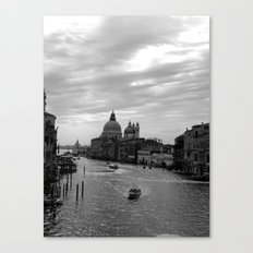 Venice Grand canal in black and white Canvas Print
