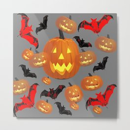 GREY HALLOWEEN JACK O'LANTERNS & BATS Metal Print