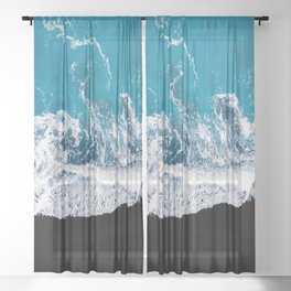 Black sand beach with waves and blue Ocean in Iceland – Minimal Photography Sheer Curtain