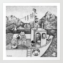 Fox on Fishing-boat Art Print