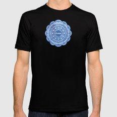 Calming Serenity Blue Mandala Mens Fitted Tee MEDIUM Black
