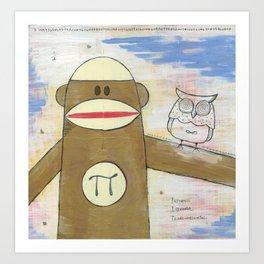 Sock Monkey 270: Pi Monkey and Infinity Owl Art Print