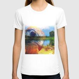 Krestrel Falcon In Landscape By Annie Zeno T-shirt