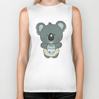 cartoons Biker Tanks featuring Baby koala by mangulica illustrations