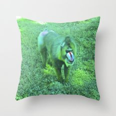Monkey red nose, between green. Throw Pillow