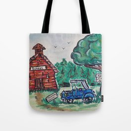 School, Primitive Art Painting by Faye Tote Bag