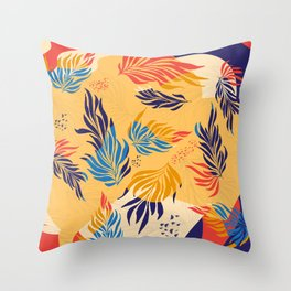 Primary Colors Leaves Throw Pillow
