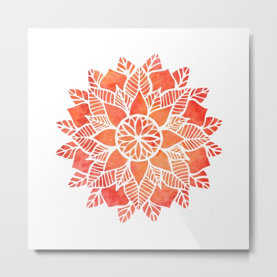 Orange Mandala Metal Print