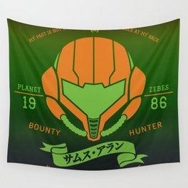 Video Game Gamer Geek Metroid Inspired Orange Armor Space Warrior Wall Tapestry