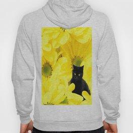 Black Cat Yellow Flowers Spring Mood #decor #society6 #buyart Hoody