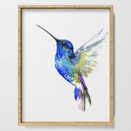 Hummingbird, Turquoise BLue Flying Bird decor Serving Tray