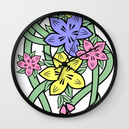 Abstract flowers corner Wall Clock