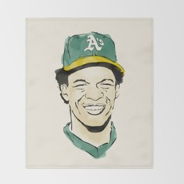 """Rickey """"The Man of Steal"""" Henderson Throw Blanket"""
